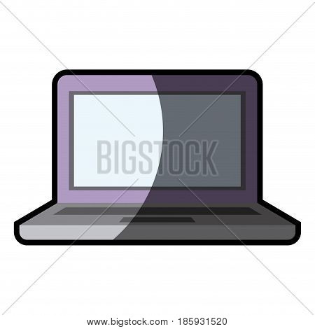 white background with laptop computer with bezel screen purple with half shadow vector illustration
