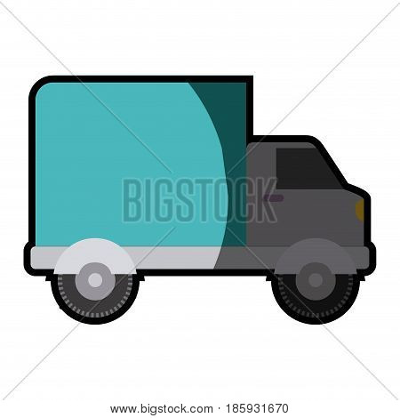 white background with truck with wagon and half shadow vector illustration