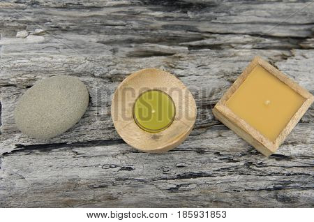 Two Soap with stone on driftwood wood