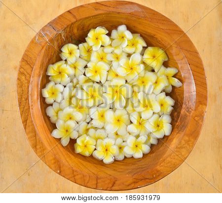 wooden bowl in many frangipani in wood bowl