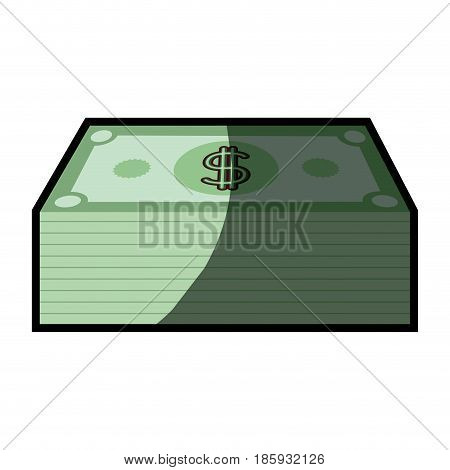 colorful silhouette with dollars bill stack with half shadow vector illustration