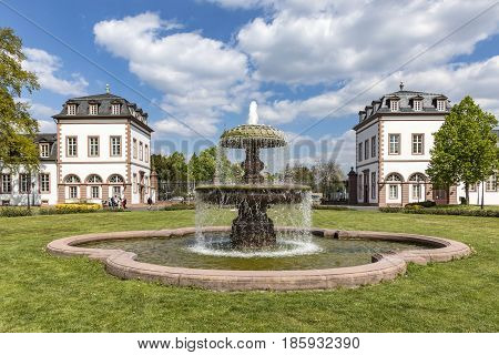 View To Fountain In Front Of Castle Phillipsruhe In Hanau