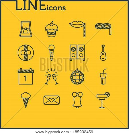 Vector Illustration Of 16 Banquet Icons. Editable Pack Of Date Block, Carnaval Mask, Soft Drink And Other Elements.