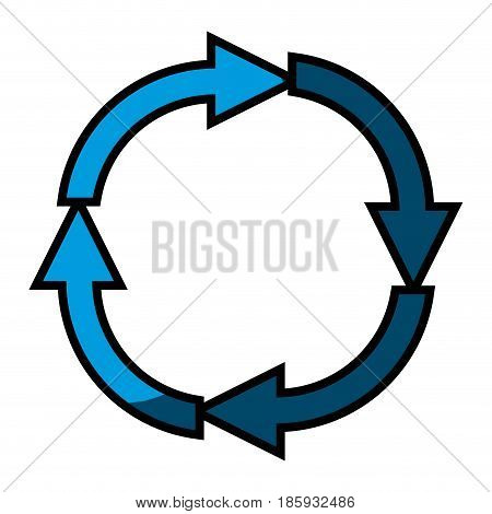 blue silhouette with black contour of arrows in circular shape reload with half shadow vector illustration