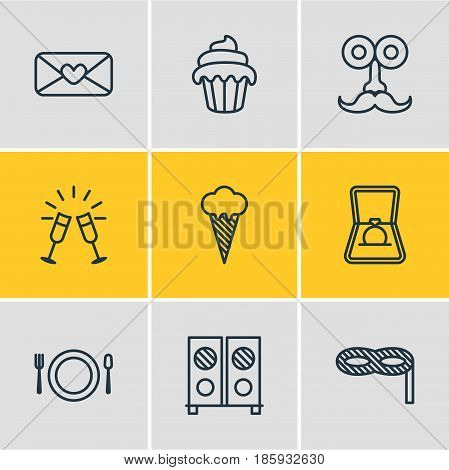 Vector Illustration Of 9 Feast Icons. Editable Pack Of Man Style, Goblet, Engagement And Other Elements.