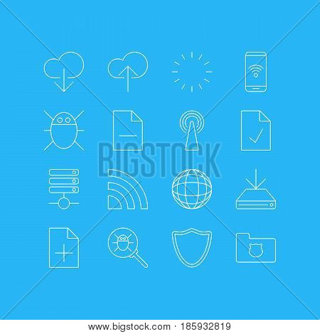 Vector Illustration Of 16 Network Icons. Editable Pack Of Privacy Doc, Safeguard, Computer Virus And Other Elements.