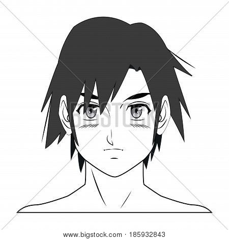 young guy. anime boy character manga vector illustration