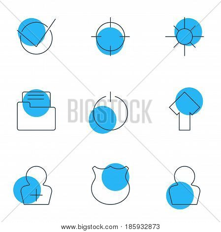 Vector Illustration Of 9 Interface Icons. Editable Pack Of Dossier, Guard, Yes And Other Elements.