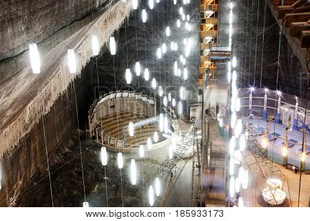 TURDA, ROMANIA - May 5, 2017: Underground theme park in salt mine Salina Turda, Transylvania