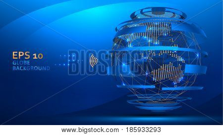Globe internet background vector. Web futuristic technology concept. Planet Earth wire frame and dots.