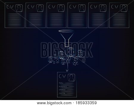 resumes being shortlisted through funnel and gearwheel mechanism (vector illustration on mesh background)