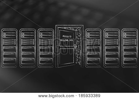 server room with semi-open door to data access concept of keeping your files safe (vecto illustration on mesh background)