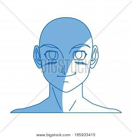 cartoon young guy. anime boy character japanese vector illustration