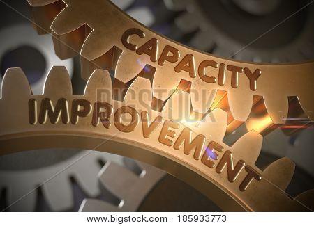Capacity Improvement on the Mechanism of Golden Metallic Cogwheels with Glow Effect. Golden Cogwheels with Capacity Improvement Concept. 3D Rendering.