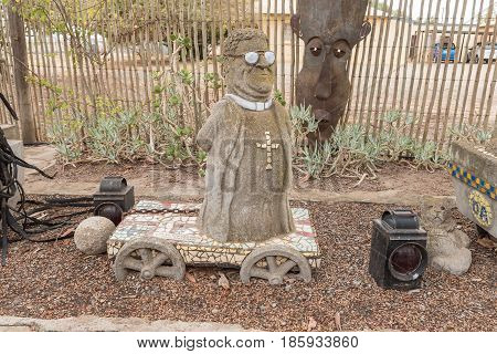 DARLING SOUTH AFRICA - MARCH 31 2017: A caricature of a famous South African at Evita se Perron in Darling a town in the Western Cape Province