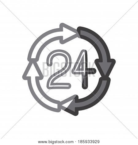 grayscale silhouette of 24 hours arrow circle icon vector illustration