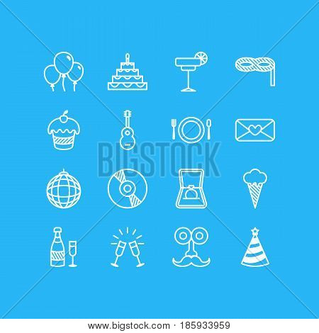 Vector Illustration Of 16 Banquet Icons. Editable Pack Of Cutlery, Fizz, Man Style And Other Elements.