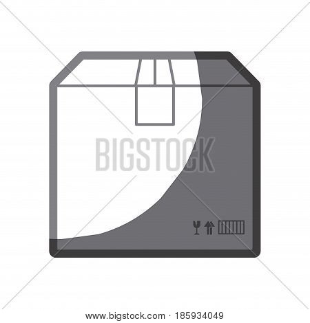 grayscale silhouette of box of cardboard sealed vector illustration