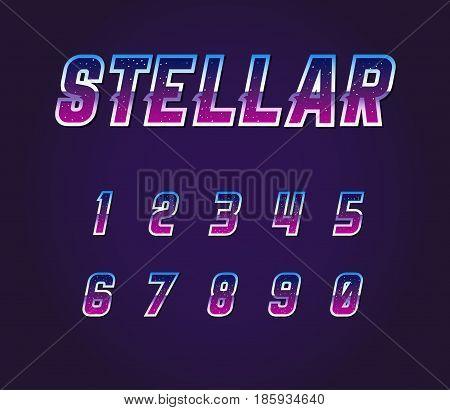Universe Pulsar 80s Retro Sci-Fi Font  Numbers Vector Set