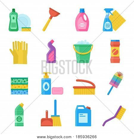 Household tools for cleaning and washing icon set. Household accessories for toilet and bathroom cleaning. Vector illustration in a flat style.