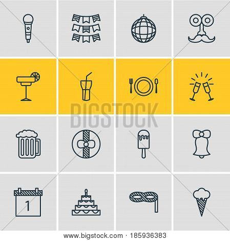 Vector Illustration Of 16 Feast Icons. Editable Pack Of Nightclub Ball, Draught, Cutlery And Other Elements.