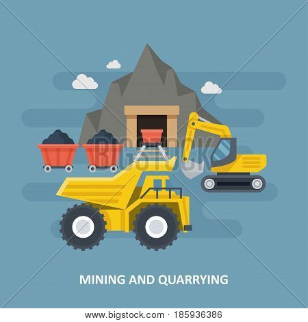 Coal mine with mining technique vector illustration. The process of coal mining and loading for further transportation. Mining and quarrying banner.