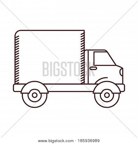 monochrome silhouette of truck with wagon vector illustration