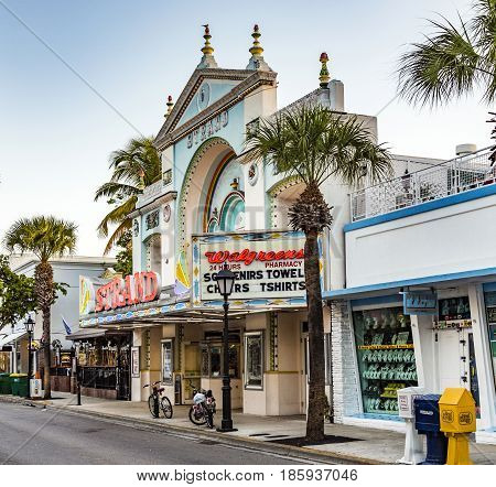 People At Key West Cinema Theater Strand In Key West