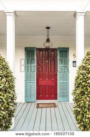 Typical Wooden Entrance At An Old Historic House In Key West