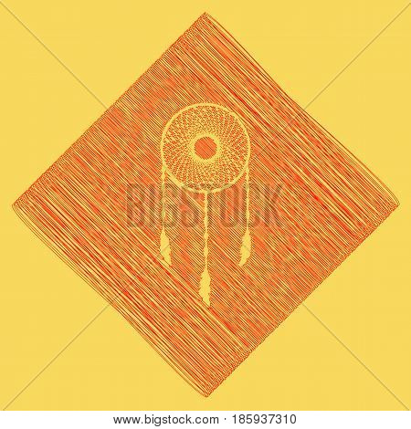 Dream catcher sign. Vector. Red scribble icon obtained as a result of subtraction rhomb and path. Royal yellow background.