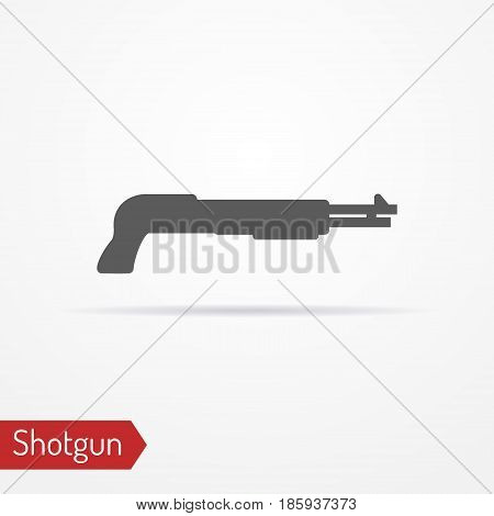Abstract isolated shotgun icon in silhouette style with shadow. Typical police special forces or hunter weapon. Military vector stock image.