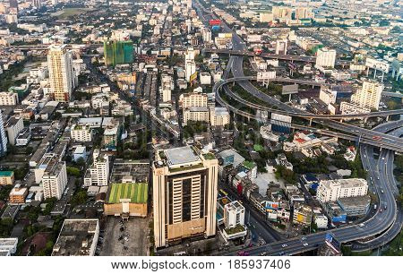 View To Skyline Of Bangkok In Late Afternoon With Highways And  Skyscraper