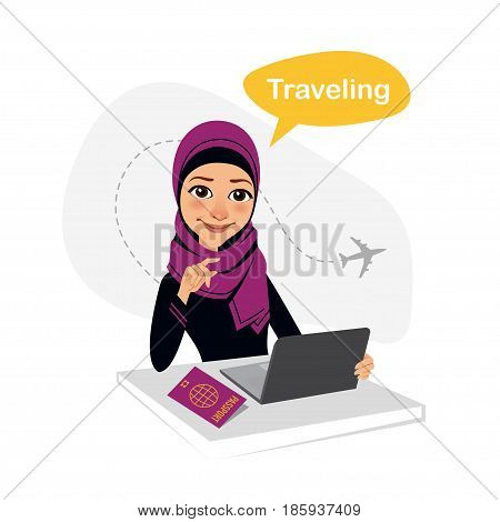 Travel agency banner. Arab woman sitting at table in office. Travel agent working for laptop. Travel concept.