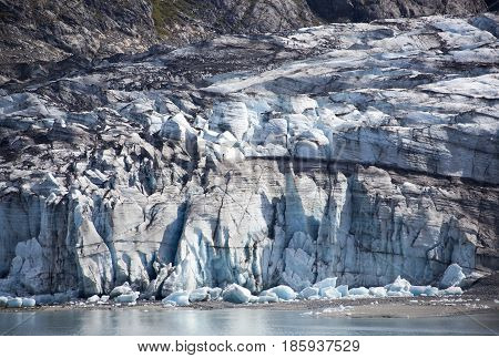The view of Blue Glacier in Glacier Bay national park (Alaska).