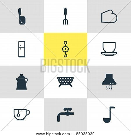 Vector Illustration Of 12 Cooking Icons. Editable Pack Of Tea, Steelyard, Extractor Appliance And Other Elements.