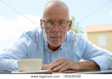 portrait of an angry senior man outdoor