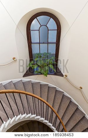 Detail of a Spiral circle Staircase decoration interior