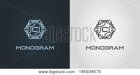 Set of Compact Monogram Design Template with Letter Vector Illustration Premium Elegant Quality