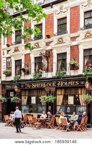 London United Kingdom - June 14 2006: The Sherlock Holmes pub situated on Northumberland avenue in Westminster is a traditional english pub.