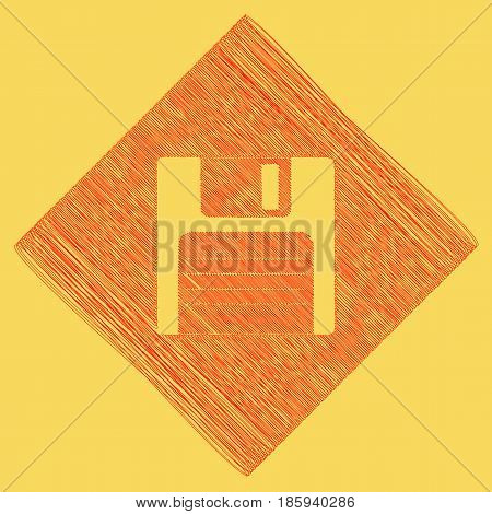 Floppy disk sign. Vector. Red scribble icon obtained as a result of subtraction rhomb and path. Royal yellow background.