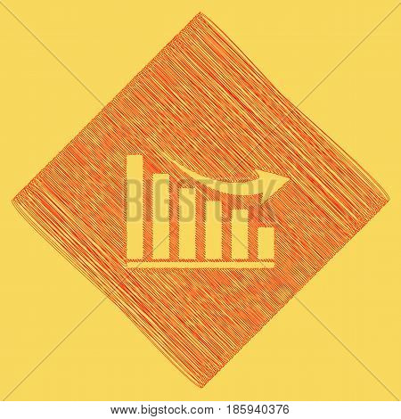 Declining graph sign. Vector. Red scribble icon obtained as a result of subtraction rhomb and path. Royal yellow background.