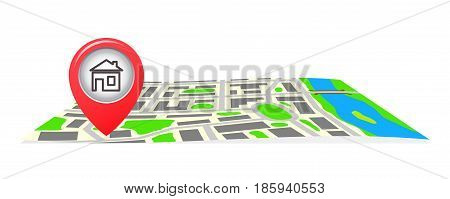 The route on the map of the city. Vector illustration.