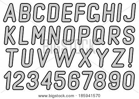 Letters and numbers of dots on a white background.