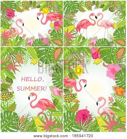 Summery tropical backgrounds with exotic flowers and flamingo
