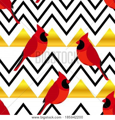 Abstract pattern with red cardinal and gold triangles. Ornament for textiles and wrapping. Vector.