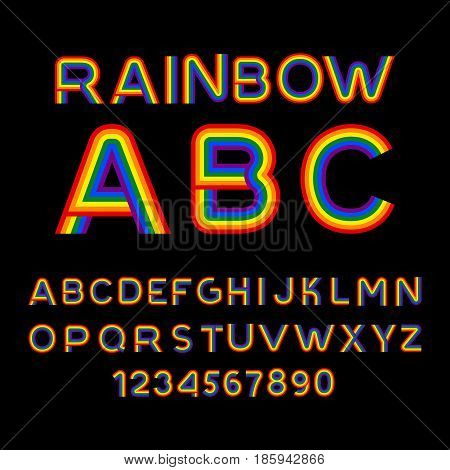 Rainbow Font. Lgbt Letters. Abc For Symbol Of Gays And Lesbians. Alphabet Of Bisexual And Transgende