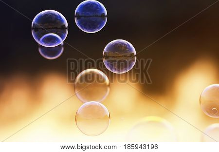 beautiful festive background with rainbow bubbles with the reflection of the sky on the background of red sunset