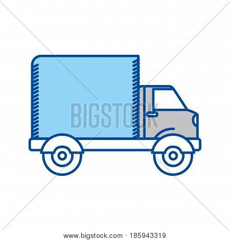 blue contour of truck with wagon vector illustration