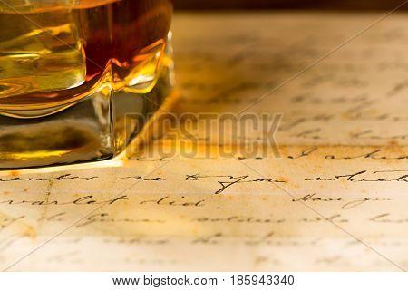 Scotland old glass of whiskey rum bourbon brandy scotch