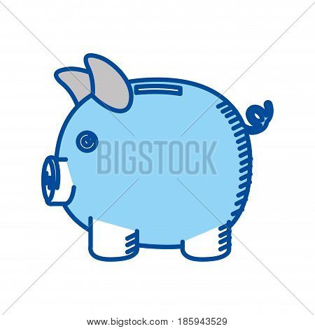 blue contour of moneybox in shape of pig vector illustration